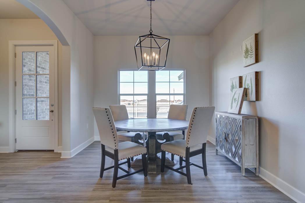 Spacious dining room in custom home.