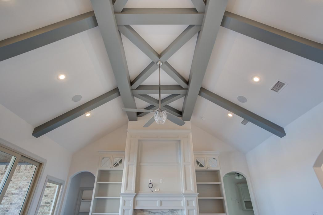 Vaulted ceiling in living area of custom home in Lubbock, Texas.