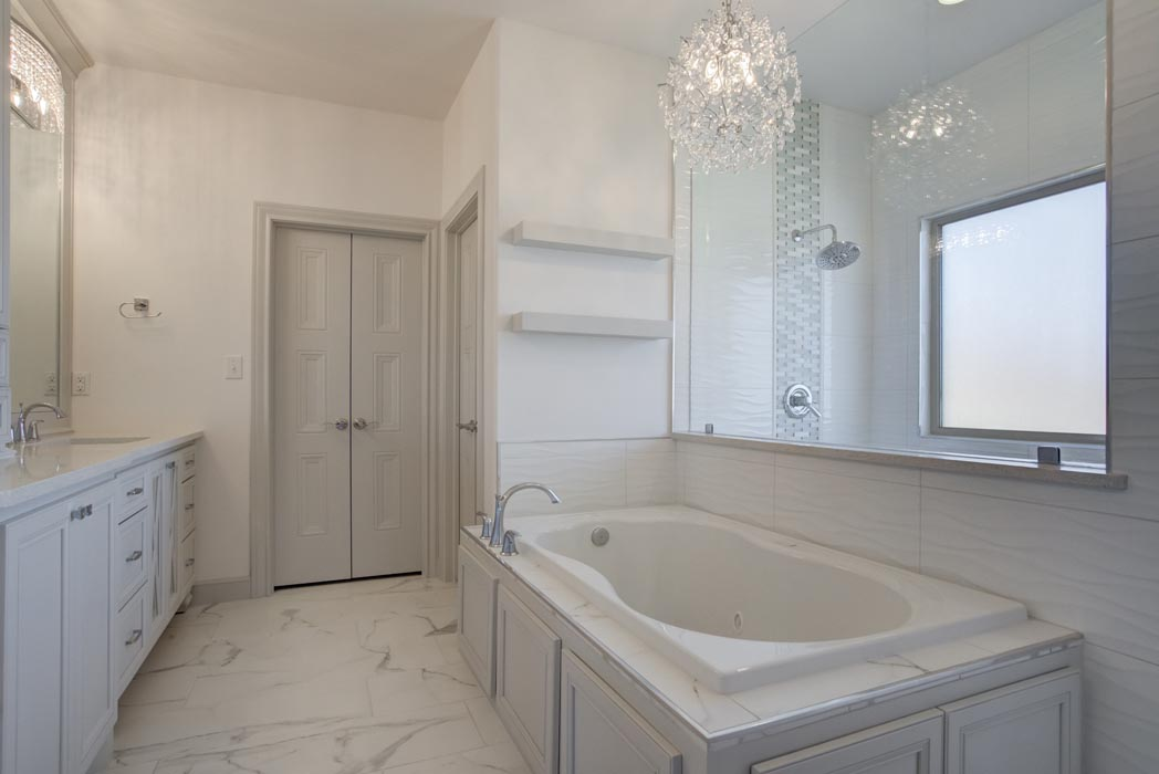 View of bathtub of master bath in beautiful home in Lubbock, Texas.
