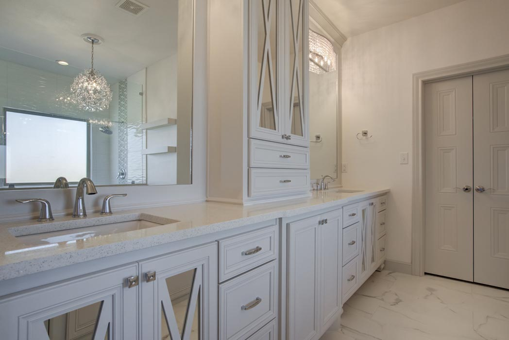 Vanity in master bath of new Lubbock home.