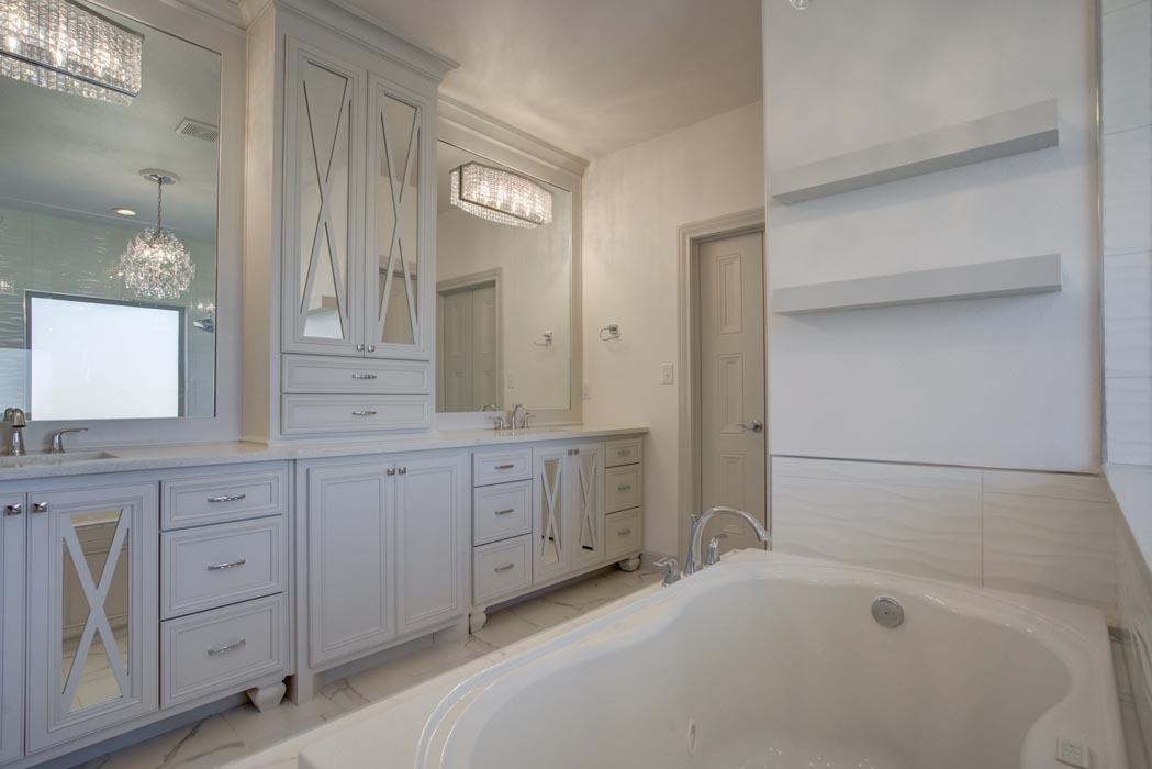 View of spacious master bath in new home in Lubbock, Texas.
