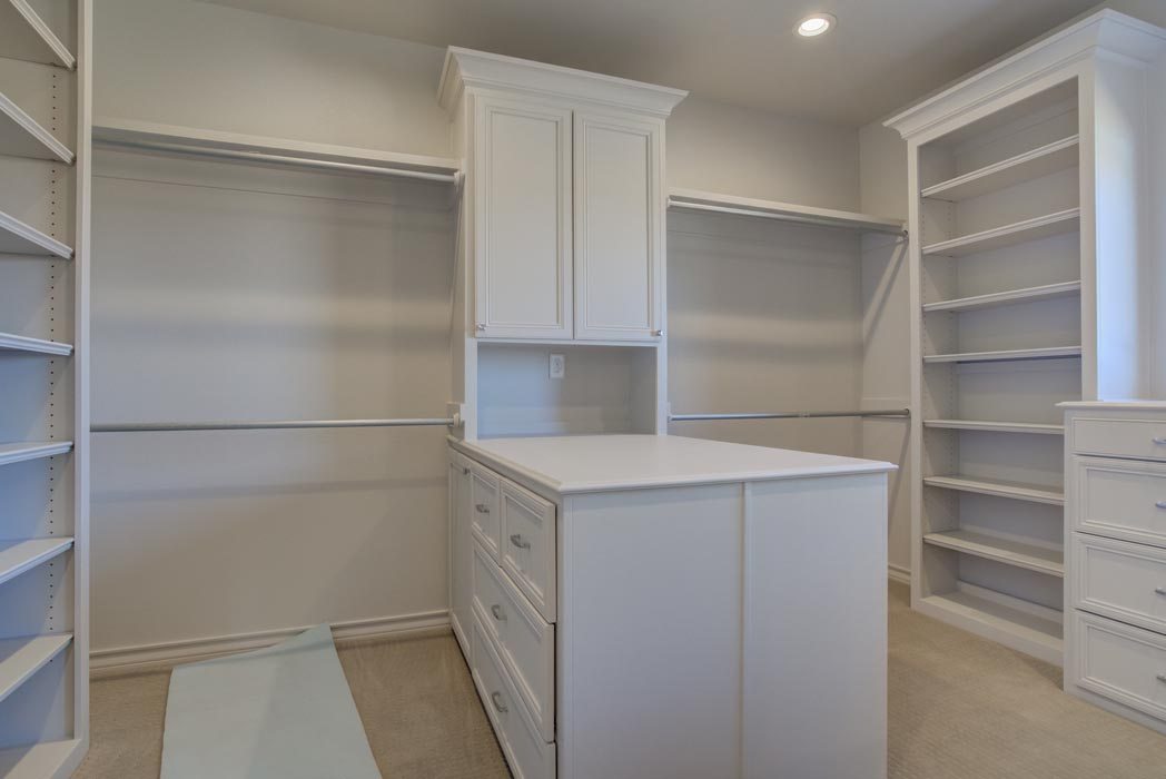 Spacious master closet in new home in Lubbock, Texas.