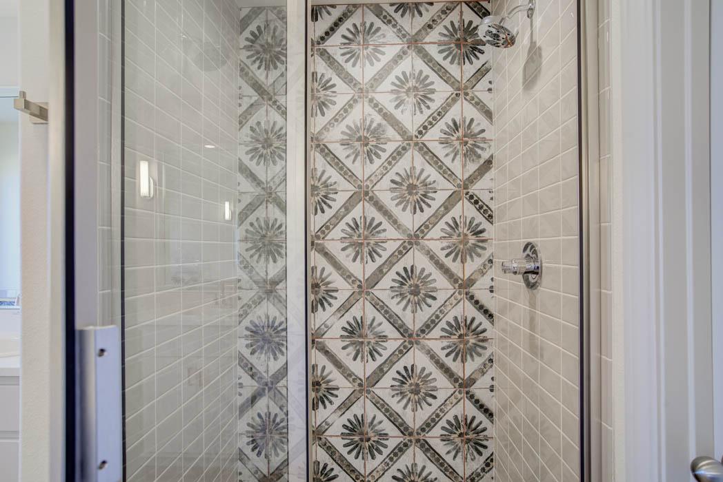 Detail of bath tile in custom Lubbock home.