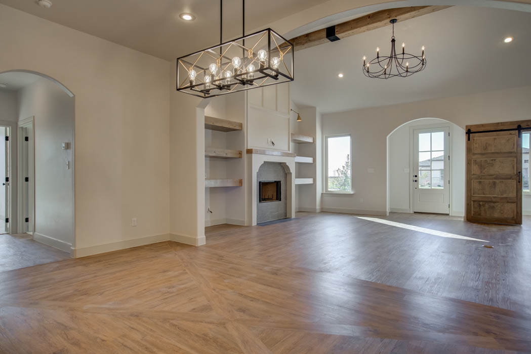 Spacious open concept living area in Lubbock home for sale.