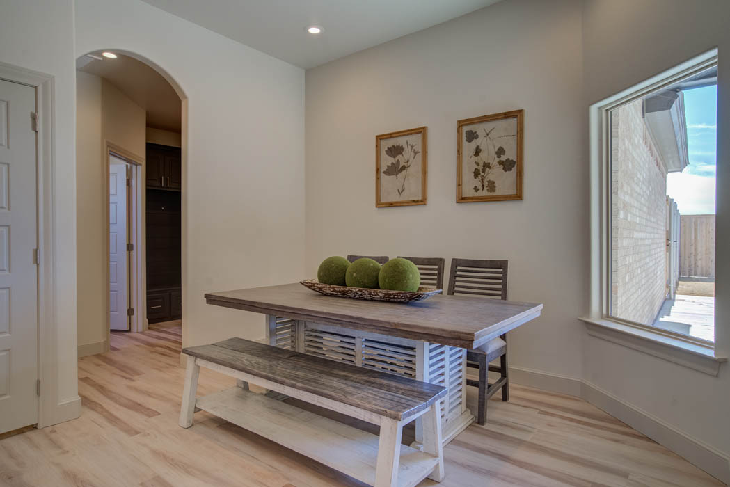 Dining area in custom home.