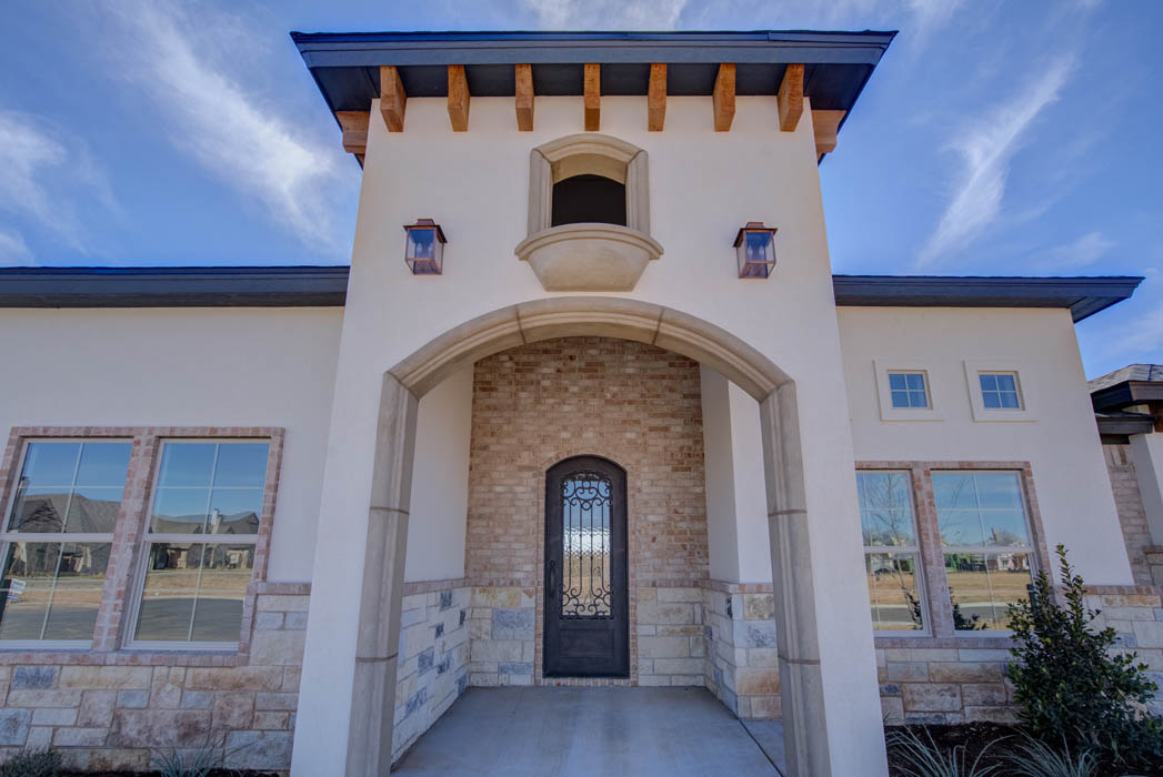 Detail of exterior entry in custom home, West Texas.