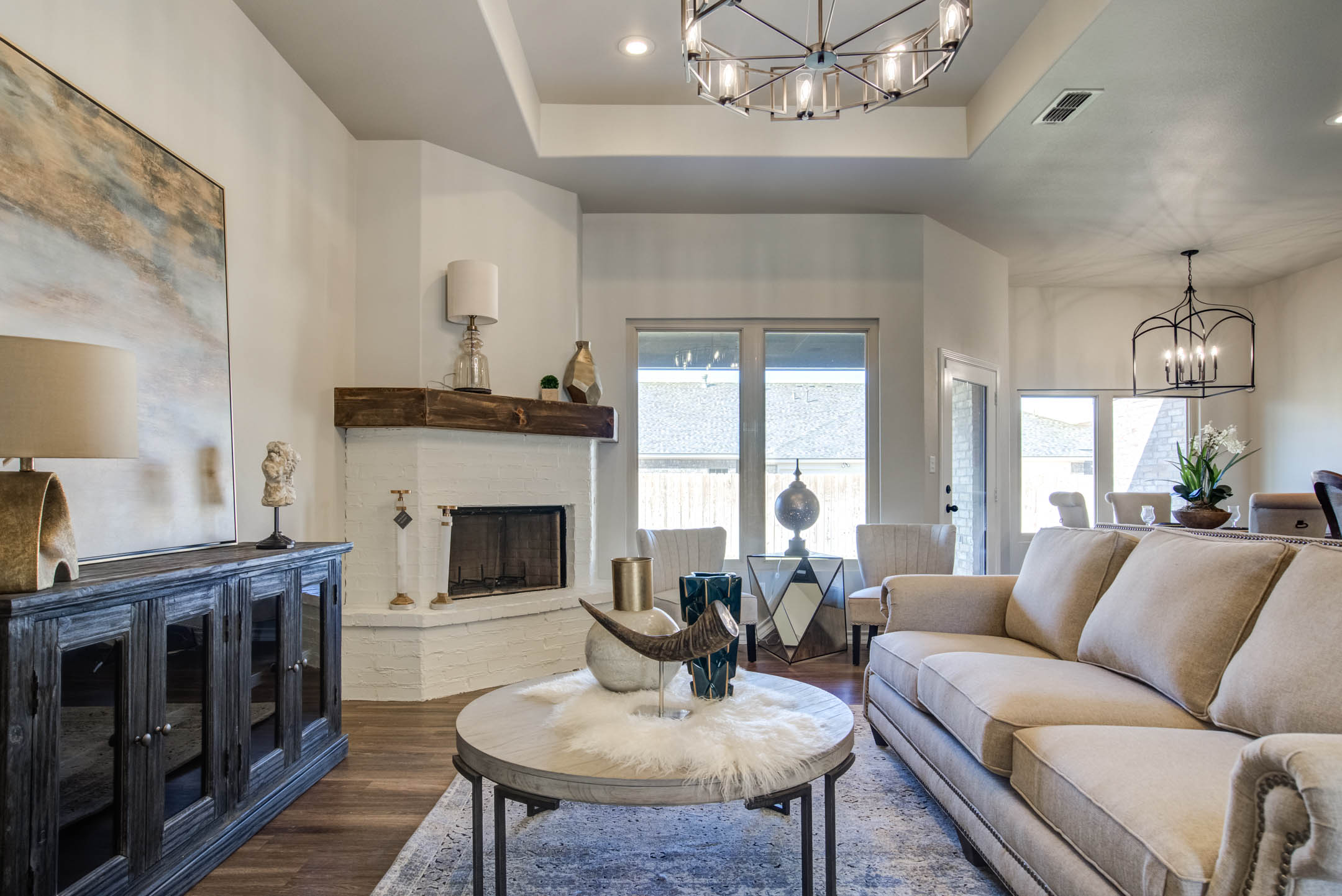 Beautiful living area in new home for sale in Lubbock, Texas.