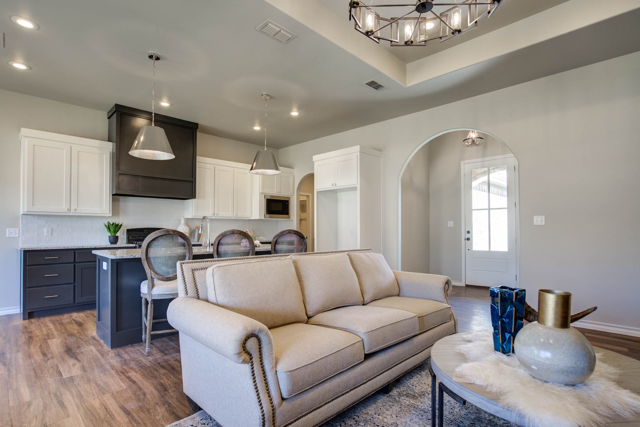 Lovely living room in new home for sale in Lubbock, Texas.