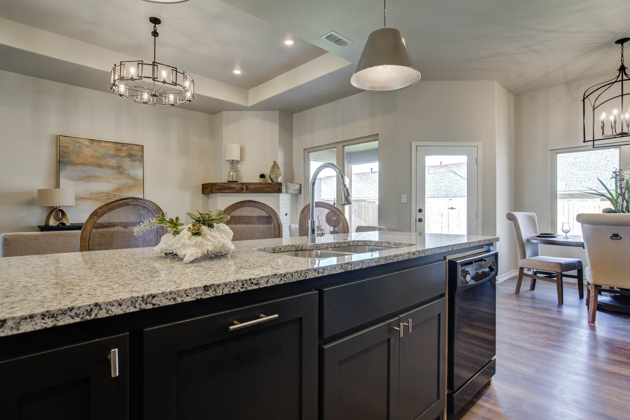 Spacious island and sink in kitchen of new home for sale in Lubbock, Texas.