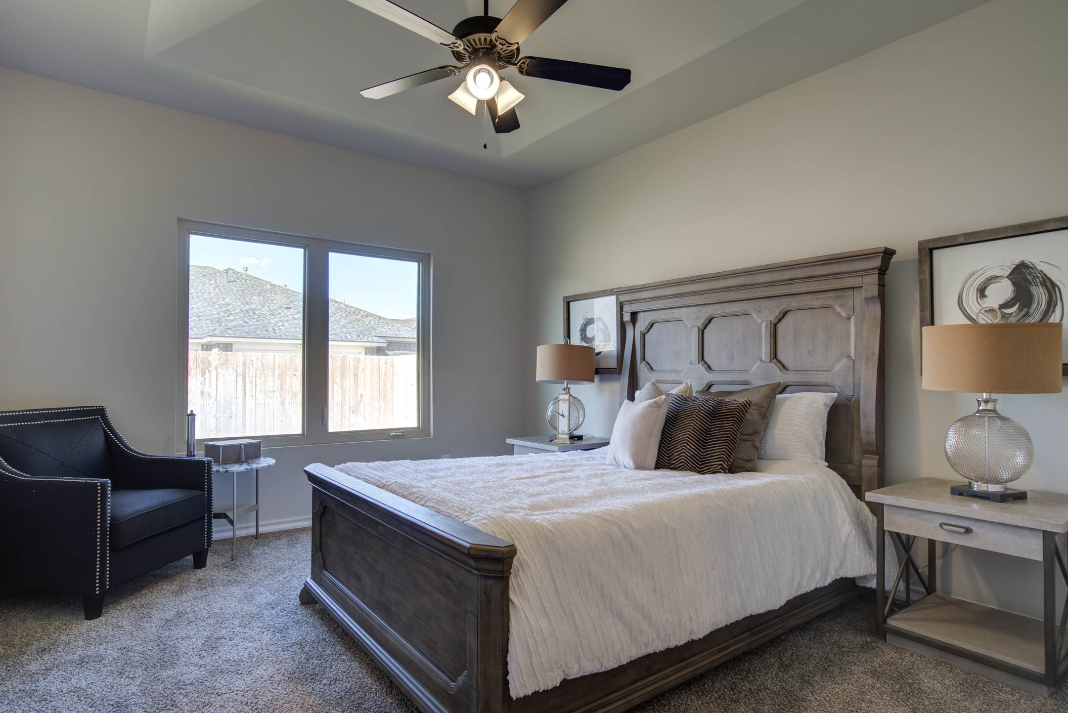 Master bedroom in new home for sale in Lubbock, Texas.