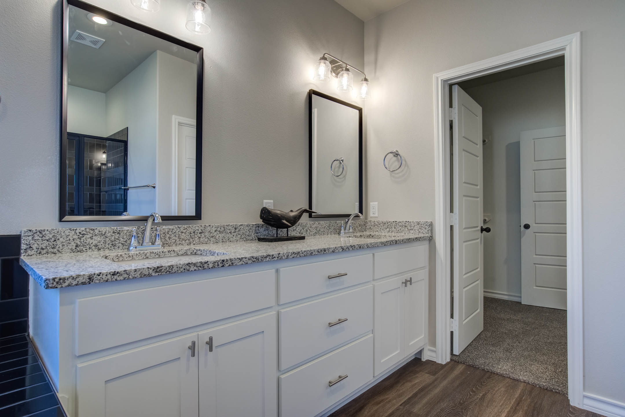 Vanity in master bath of new home for sale in Lubbock.