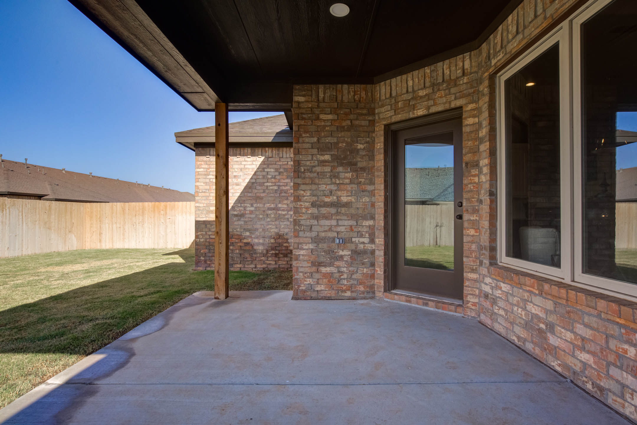 Covered patio of beautiful new home for sale in West Texas.