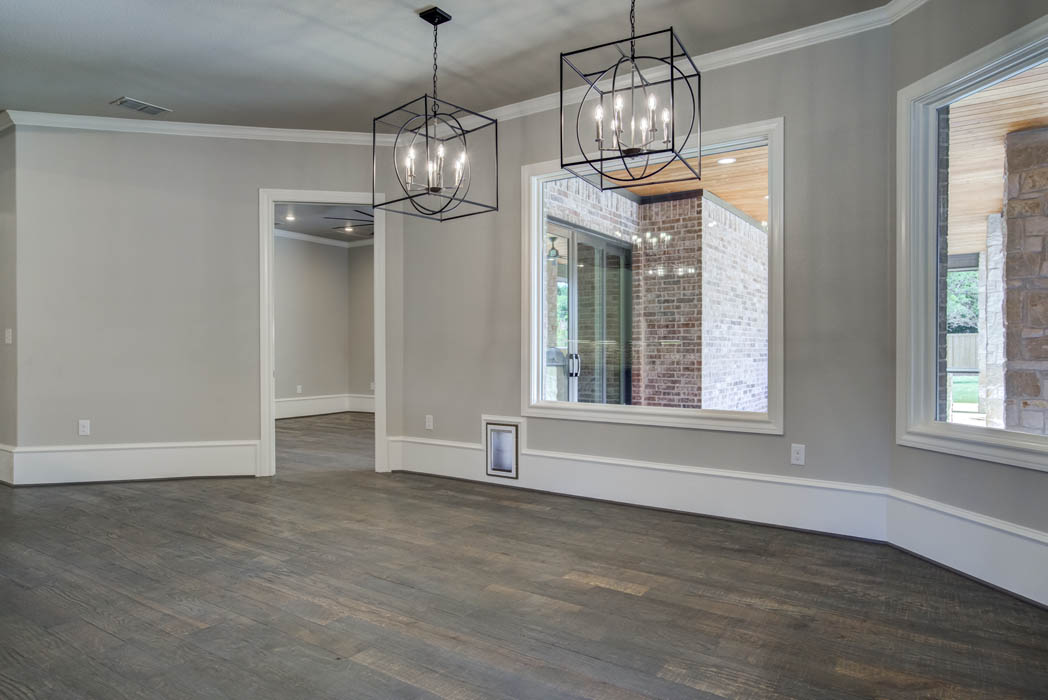 Spacious dining room in custom home near Lubbock, Texas.