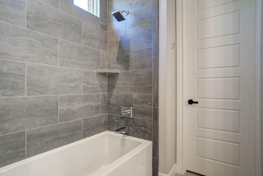 Detail of tub area in custom home in Lubbock, Texas.