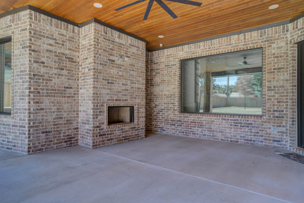 Spacious outdoor patio in custom home in Tech Terrace, Lubbock, Texas.