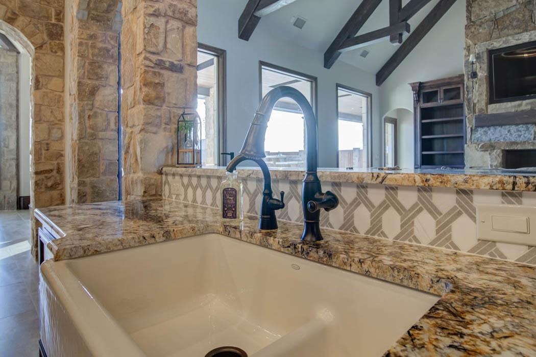 Kitchen sink in beautiful custom home near Lubbock, Texas.