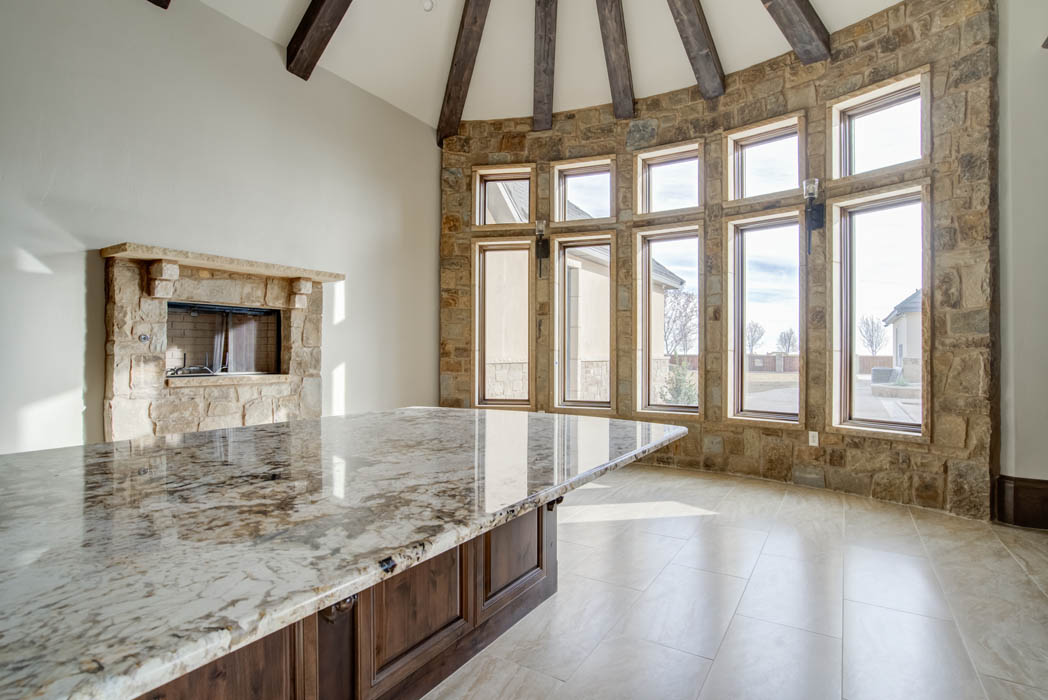 Detail of beautiful dining area in new Lubbock, Texas home by Sharkey Custom Homes.