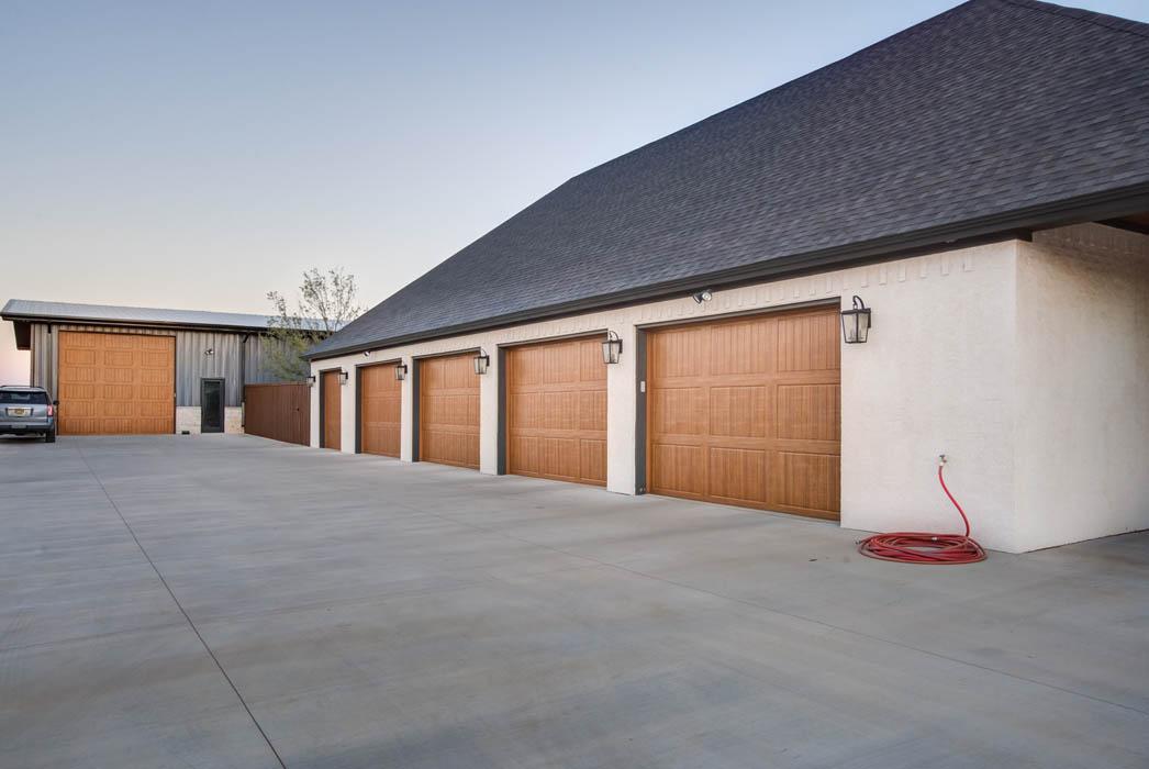 Multiple car garage of beautiful custom home in Lubbock.