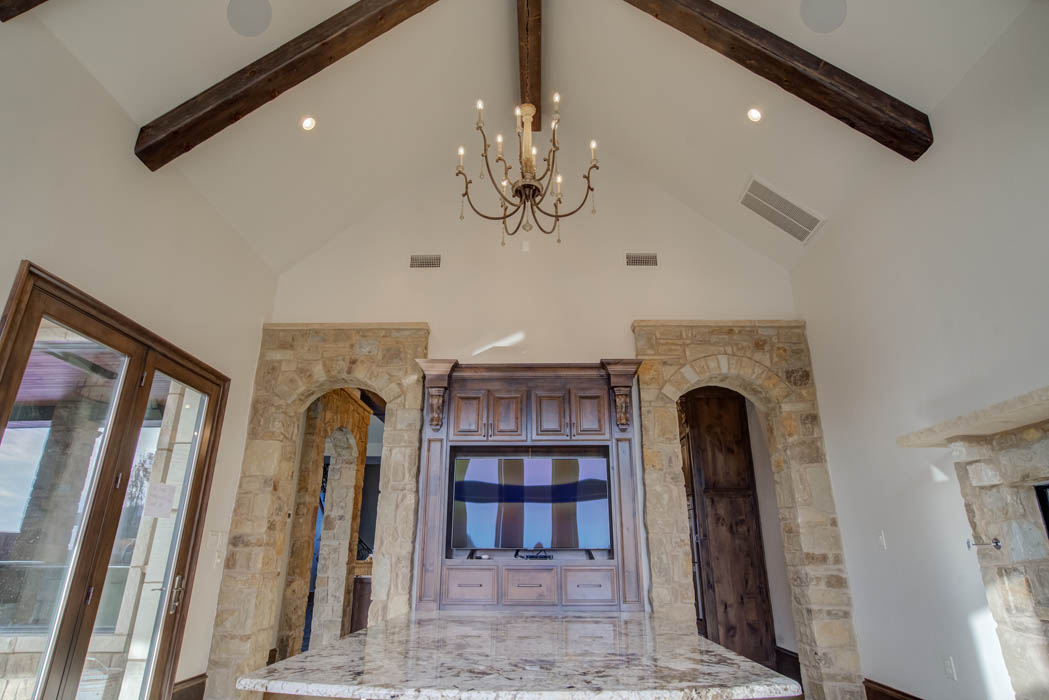 Living area in beautiful custom home by Sharkey Custom Homes, near Lubbock, Texas.