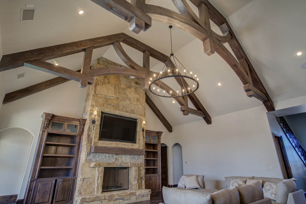 Living area ceiling in beautiful custom home by Sharkey Custom Homes, near Lubbock, Texas.