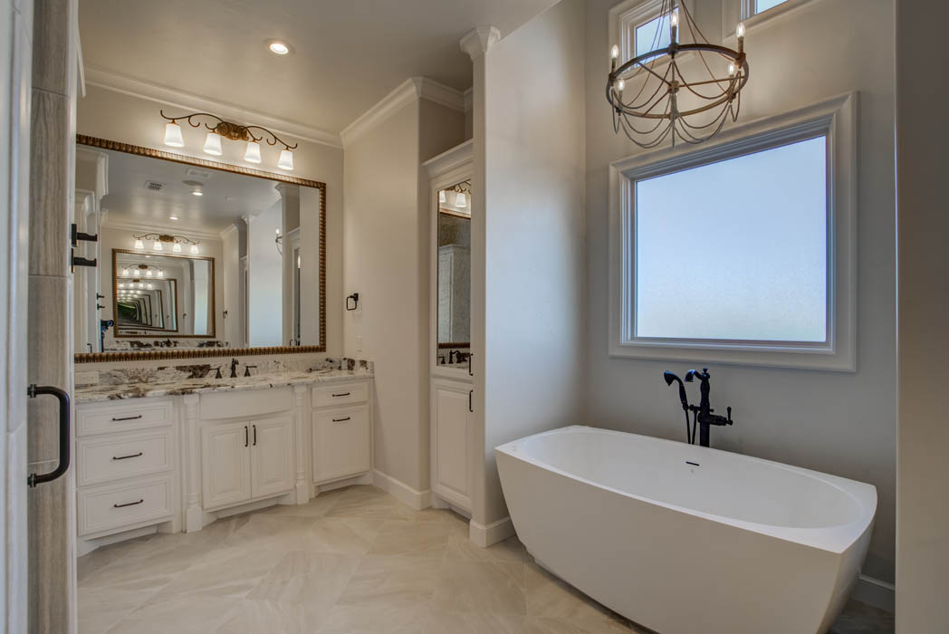 Specialty tub in master bath in Lubbock area custom home.