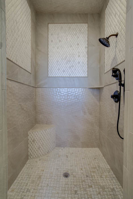 View of lovely shower in custom Lubbock area home.