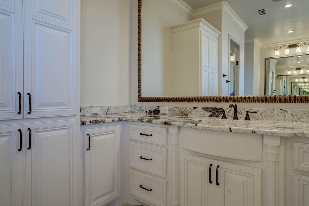Bathroom vanity in Lubbock area custom home.