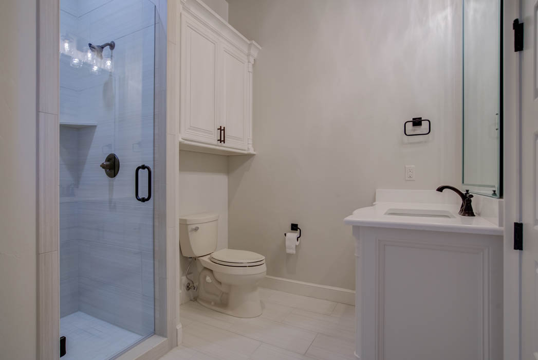 Interior of bath in beautiful custom home by Sharkey Custom Homes.