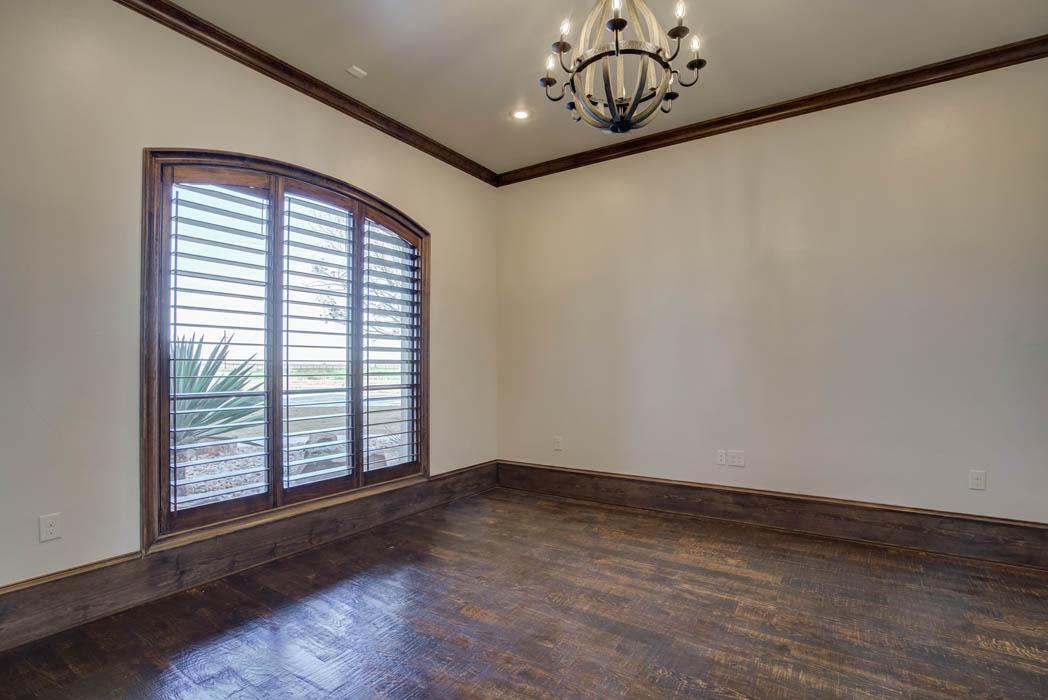 Bedroom in beautiful custom home in West Texas.