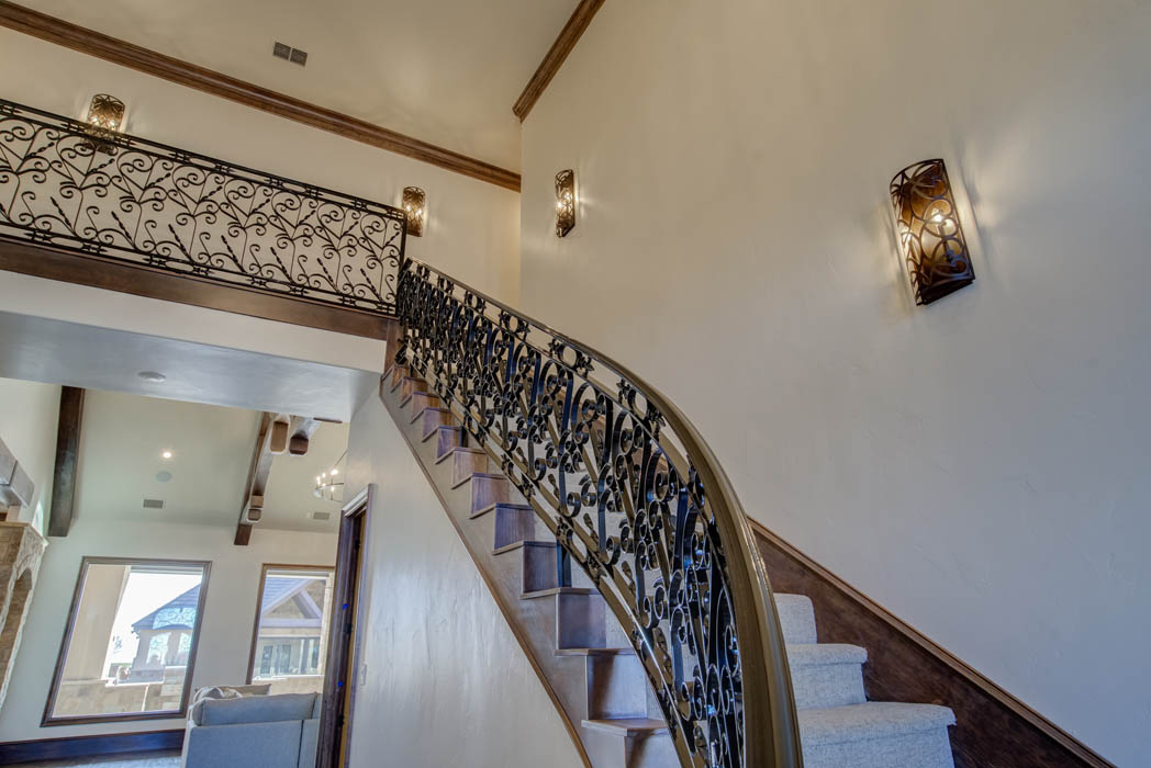 Interior of beautiful custom home with staircase in the country near Lubbock, Texas.
