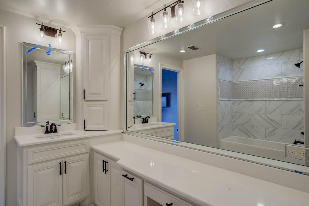 Vanity in bath of custom home built by Sharkey Custom Homes in Lubbock.
