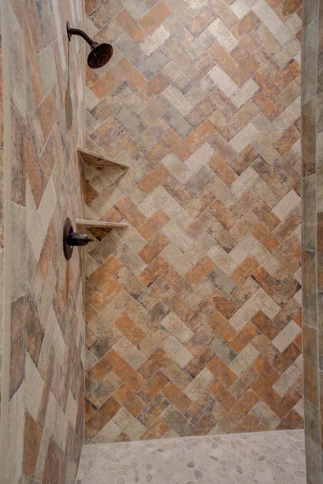 Beautiful tile work in bath of custom home by Sharkey Custom Homes, near Lubbock, Texas.