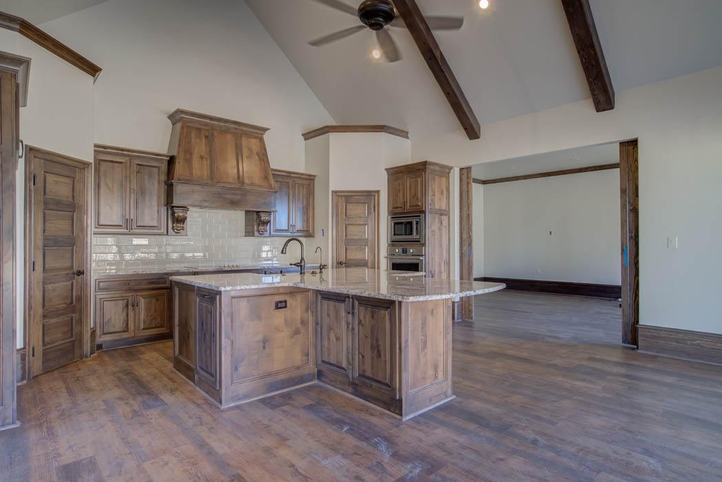 Kitchen area in beautiful custom home by Sharkey Custom Homes, near Lubbock, Texas.