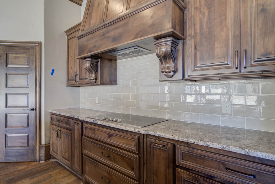 Detail of kitchen area in beautiful custom home by Sharkey Custom Homes, near Lubbock, Texas.