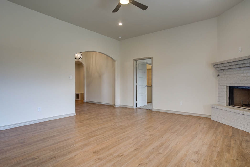 Roomy living area in new home for sale in Lubbock, Texas.