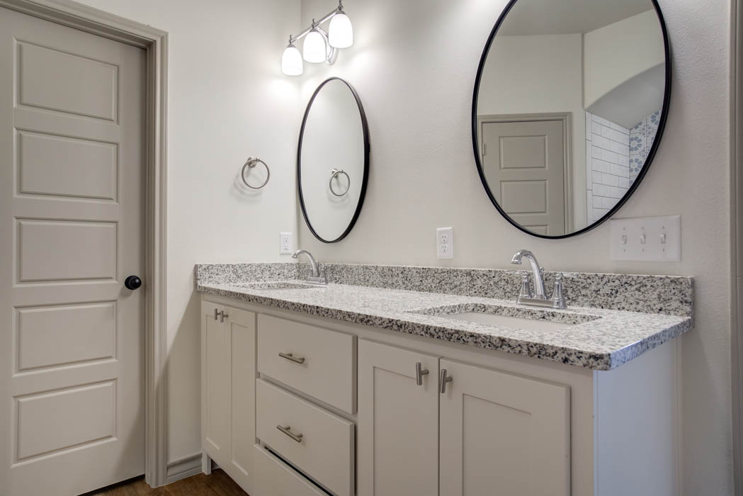 Master bath vanities in new home for sale in Lubbock, Texas.