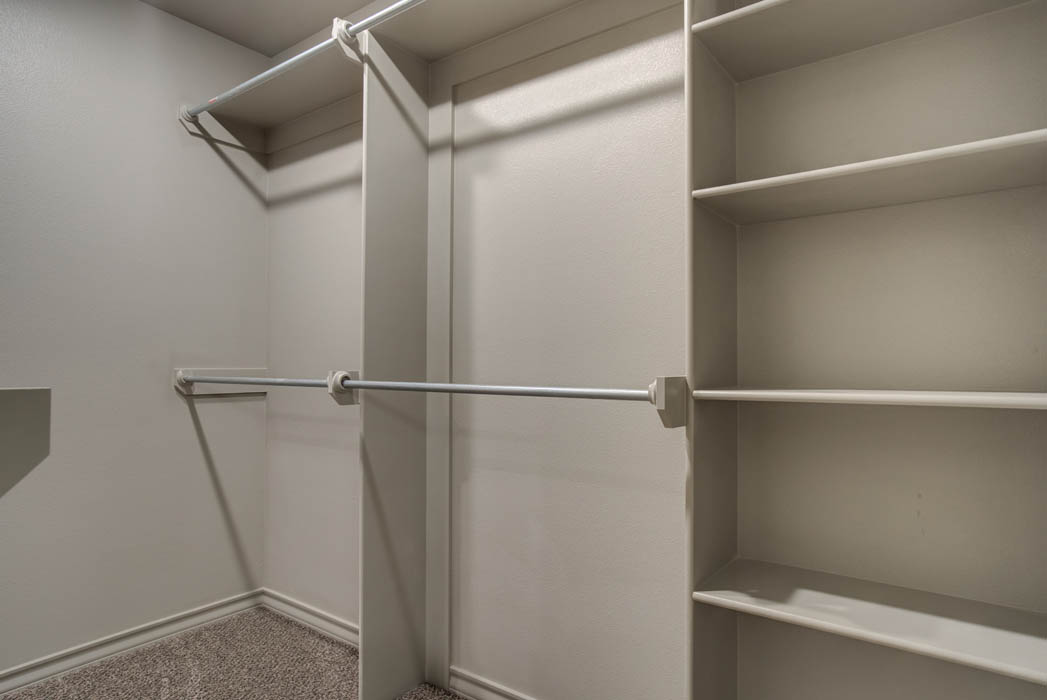 Spacious master closet in new home for sale in Lubbock, Texas.