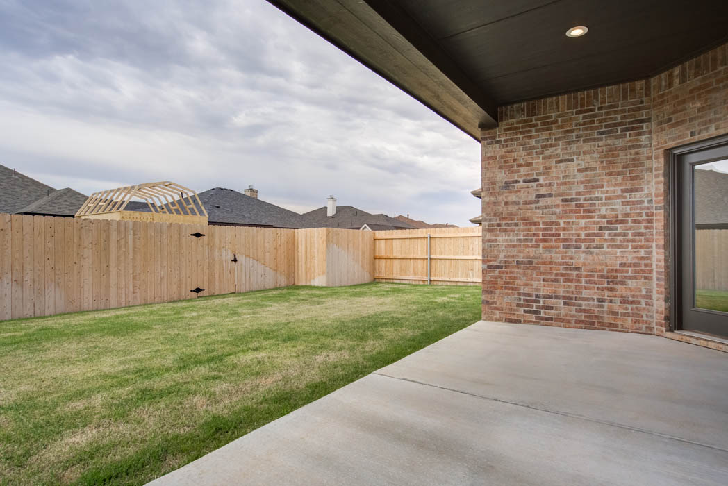 Backyard patio of new home for sale in Lubbock.