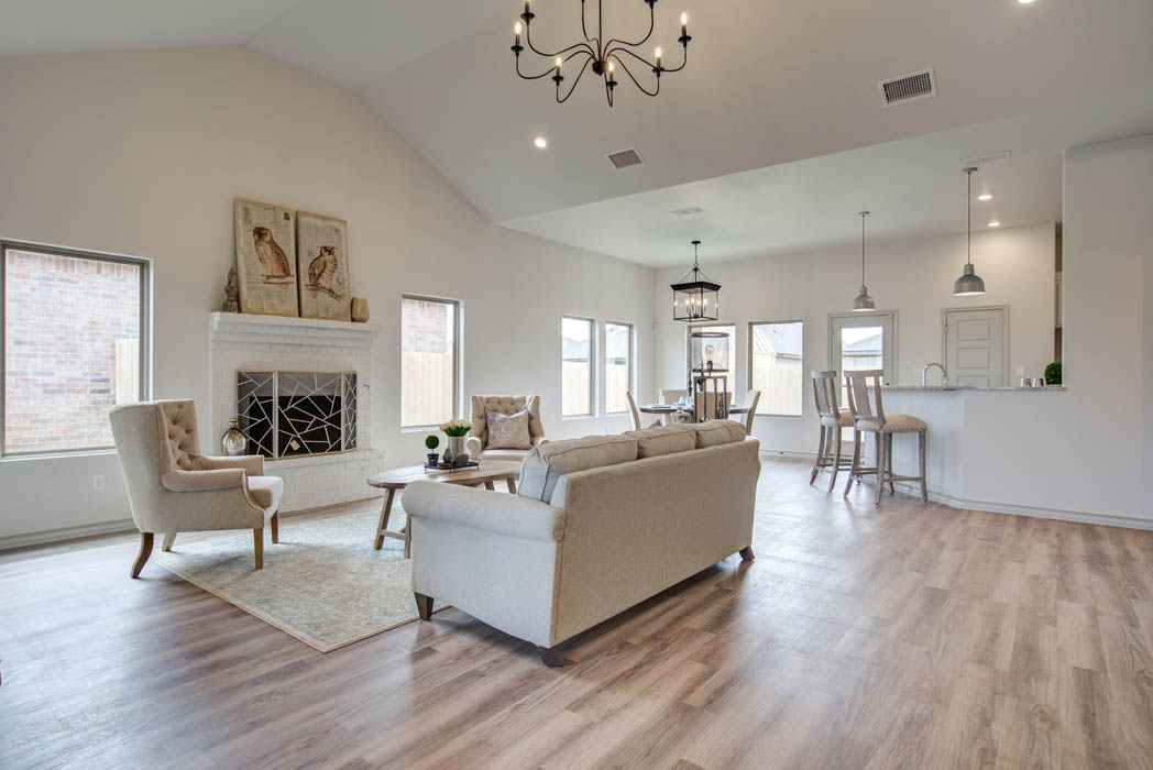 Living area in beautiful new home for sale in Lubbock, Texas.