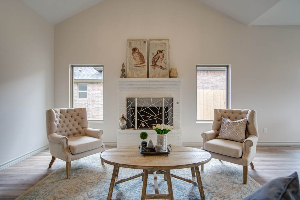 Spacious living area in new home for sale in Lubbock, Texas.