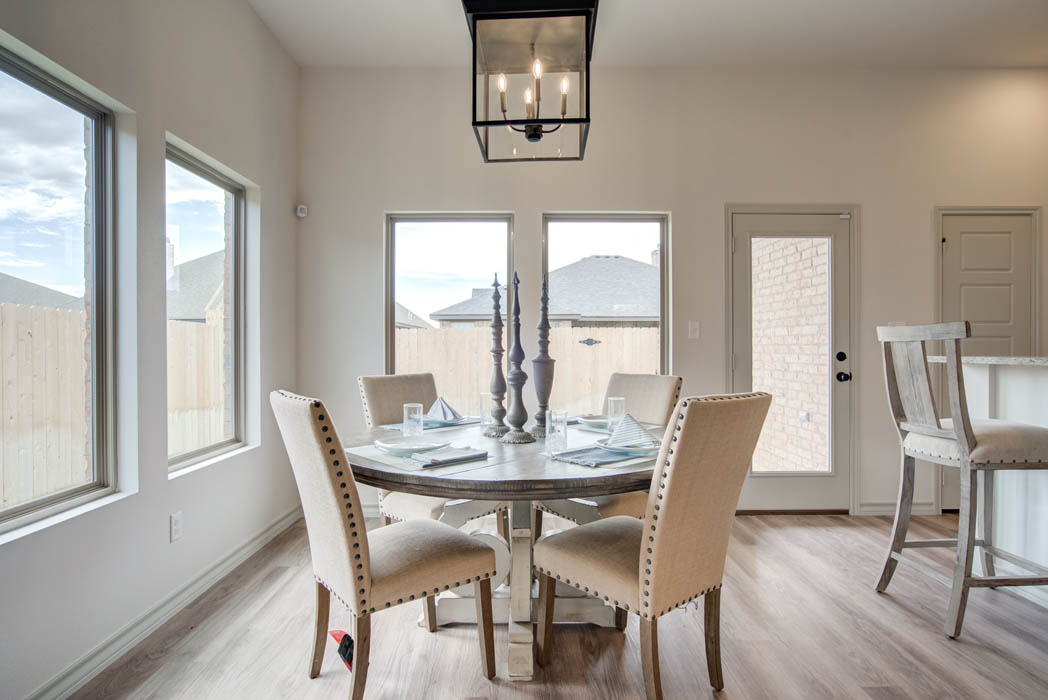Beautiful dining area in new home for sale in Lubbock, Texas.
