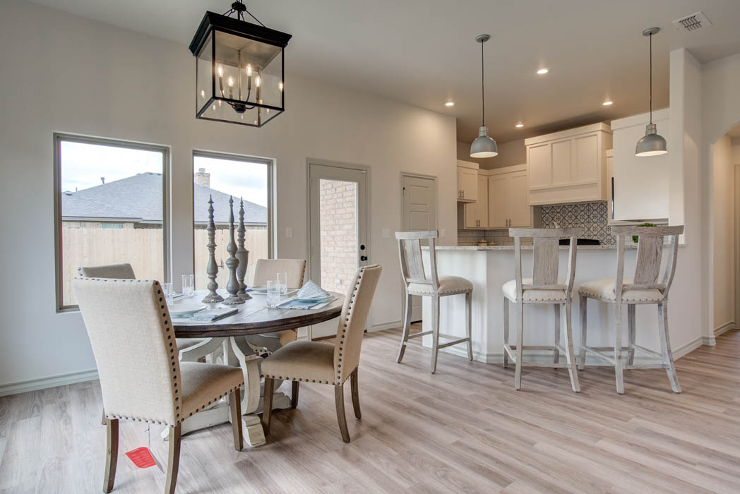 Dining area in new Lubbock home for sale.