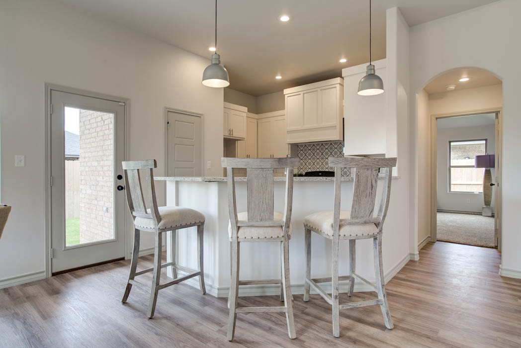 Island in kitchen of new home for sale in Lubbock, Texas.