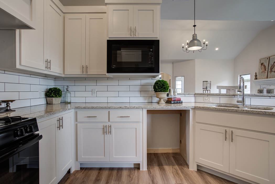 Kitchen microwave area in new home for sale in Lubbock, Texas.
