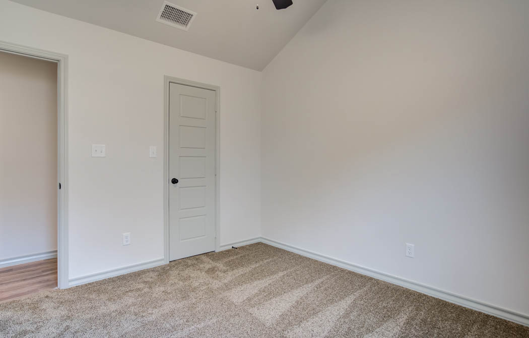 Bedroom in new home for sale in Lubbock, Texas.