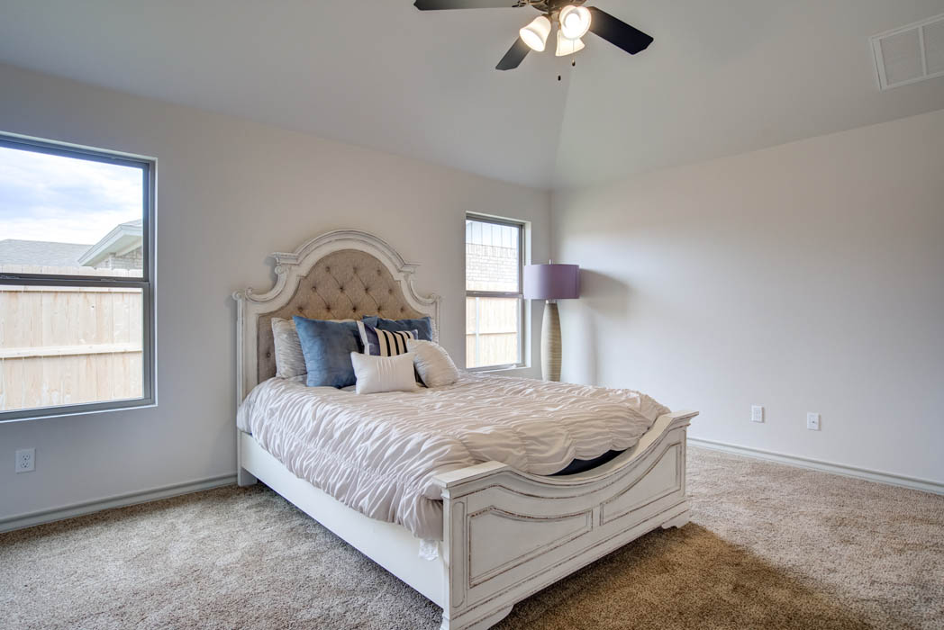 Spacious master bedroom in new home for sale in Lubbock, Texas.