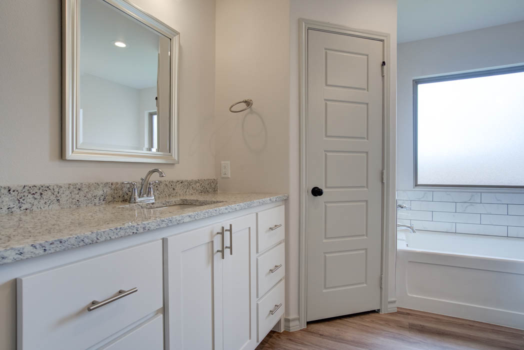 Master bath vanities in new home for sale in Lubbock, Texas.