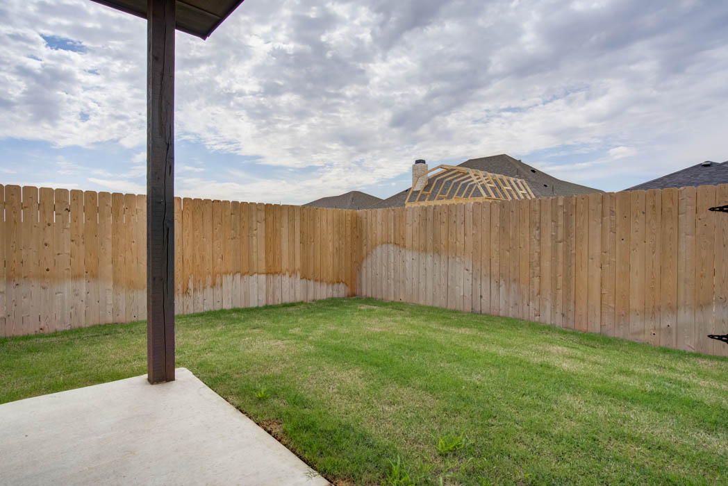 Spacious backyard of new home for sale in Lubbock.