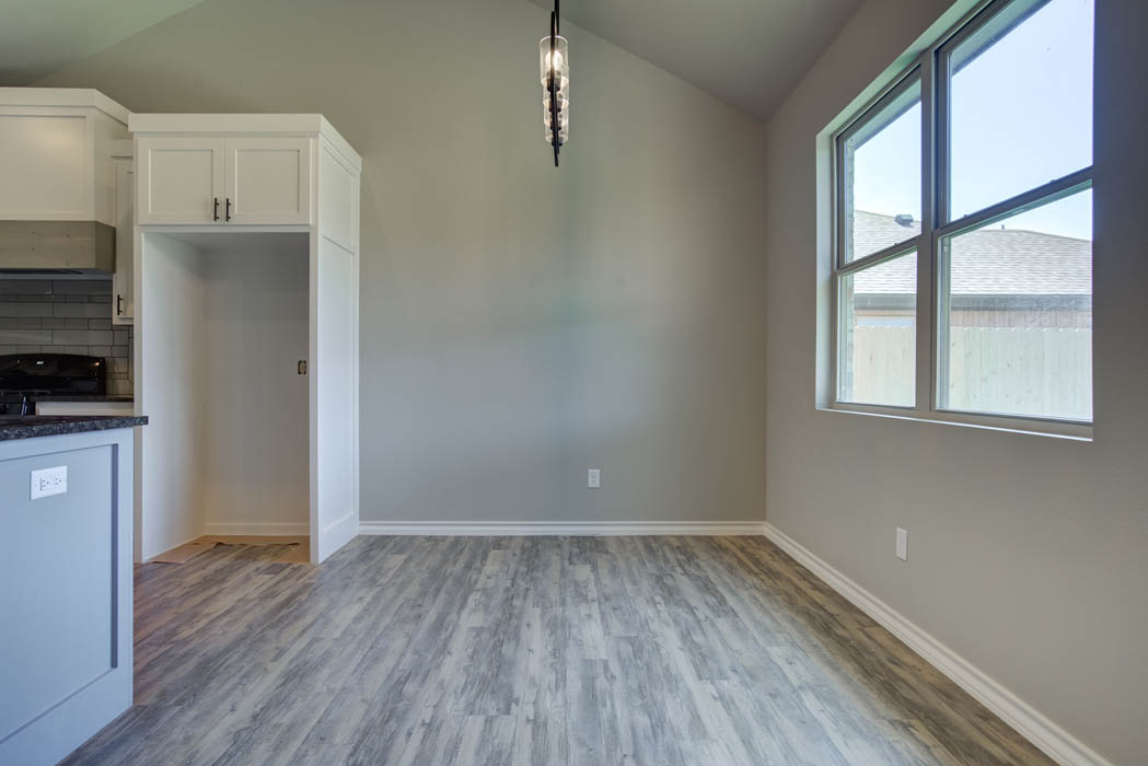 Spacious dining area in new home for sale in Lubbock, Texas.