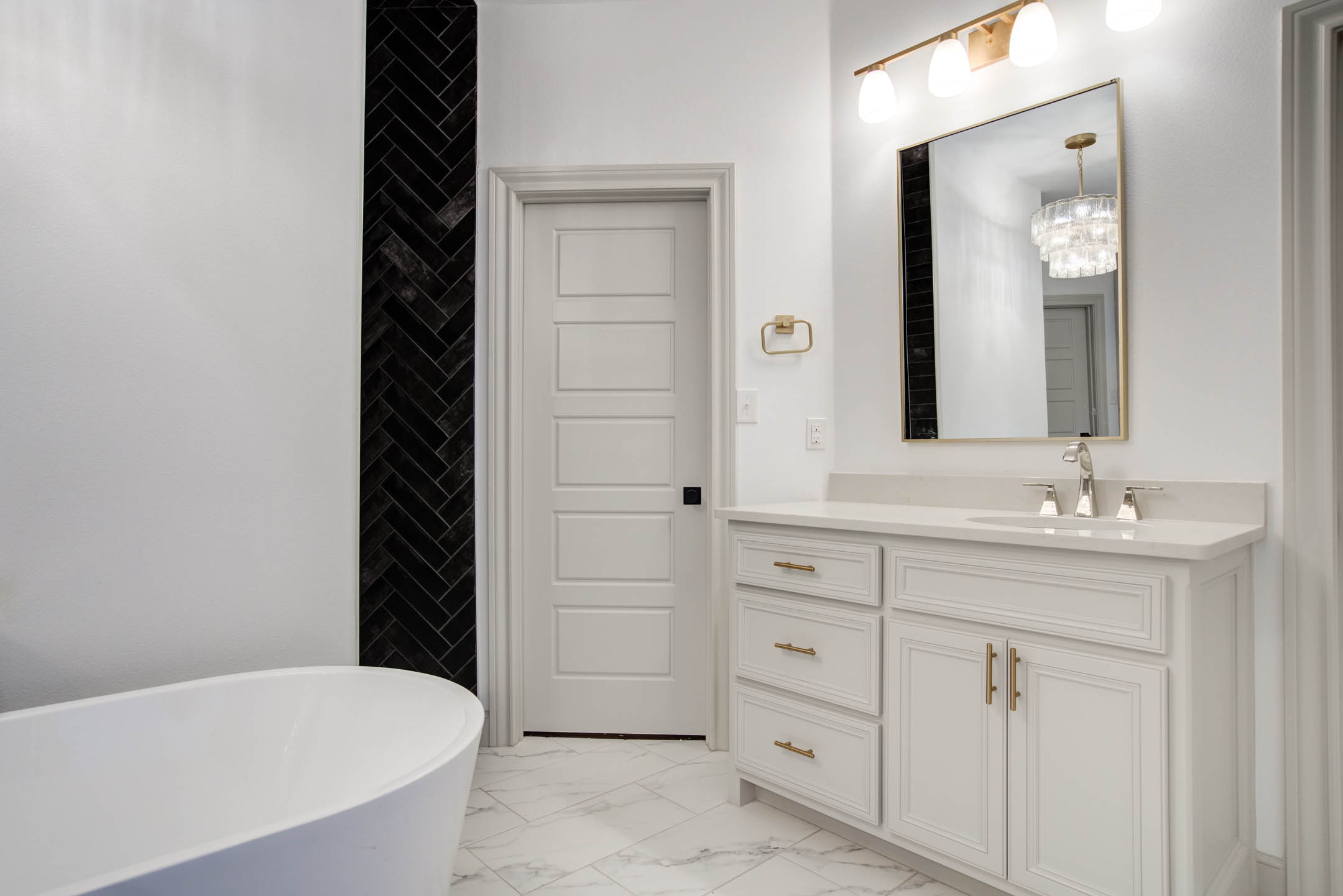 View of spacious master bath in home near Lubbock, Texas.
